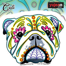 Cali's English Bulldog Sticker Decal Sugar Skull FAST USA SHIPPING