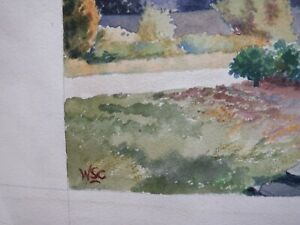 Winston Churchill vintage stunning watercolor painting on paper hand signed