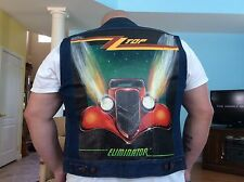 ZZTop Wrangler Blue Jean Vest From 1980, Size 42, XL, Hand Painted Design