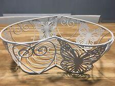 Fruit Basket Bowl Storage - Cream Vintage Heart Shaped Wire Metal  Butterflies