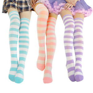 Cute Women Girls Long Striped Thigh High Stocking Anime Cosplay Over Knee Socks