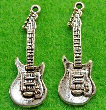 50Pcs. WHOLESALE Tibetan Silver Electric GUITAR Charms Pendants Ear Drops Q0837