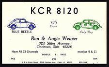 """QSL QSO RADIO CARD """"KCR 8120/Blue Beetle/Lady Bug"""", Cincinnati OH Q(1130)"""