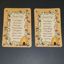 """2 Secret Pal Santa Gift Cards Small 2.5"""" x 3.75"""" Flowers Bees Prayers NEVER USED"""