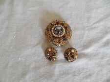 Vintage filigree  brooch w earrings black rhinestones& faux pearls W Germany
