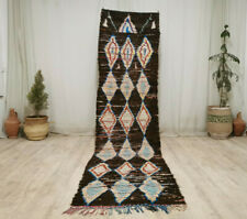 "Handmade Moroccan Tribal Runner Rug 2'7""x10'3""  Geometric Brown Berber Wool Rug"