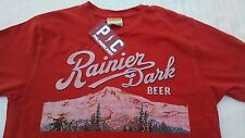 Palmer Cash Mens T-shirt S Solid Red Rainier Dark Beer Mountains Logo New