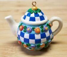 Mary Engelbreit Mini Teapot tea Ornament vintage flowers blue checkered, Me Ink