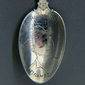 "Black Americana Sterling Souvenir Spoon ""A Happy Coon"" Circa 1900"
