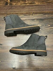 Clarks Women's Trace Fall Chelsea Boot, Size 6.5, Dark Grey Leather/Textile