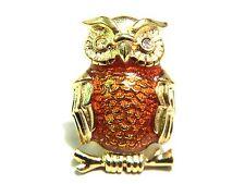 Owl Lapel or Tac Pin Brown Enamel Vintage Figural