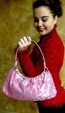 """kate spade NY silver Marina """"NICE FLORAL"""" PINK TAPESTRY SILVER Bag Purse Handbag"""