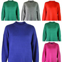 Ladies Womens Blue Pink Green Grey Red Round Neck Tunic Soft Knit Jumper