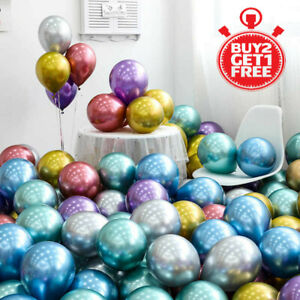 "10 /100 CHROME BALLOONS METALLIC LATEX PEARL 10""  Helium Ballon Birthday Party"