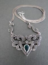 Vintage Silver Marcasite Pendant Necklace