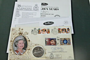 GB & CI's - BENHAM QUEENS 70th COVER SIGNED IN INK BY WNG COMM A J BARRETT