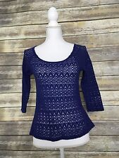 Staring at Stars Anthropologie Blue Knit Scoop Neck 3/4 Sleeve Top - Size XS