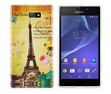 Schutzhülle f Sony Xperia M2 Tasche Case Cover Silikon TPU Paris Eiffelturm