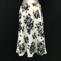 100% Linen Skirt White Black Floral Rose TALBOTS 2 P XS Below Knee Lined A Line