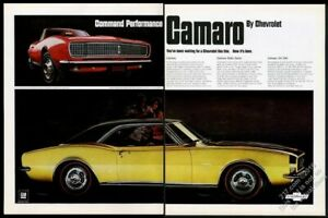 1967 Camaro SS RS red Rally Sport convertible & gold 350 coupe Chevy vintage ad