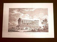 Veduta laterale Tempio della Concordia Agrigento Sicilia Litografia Saint-Non