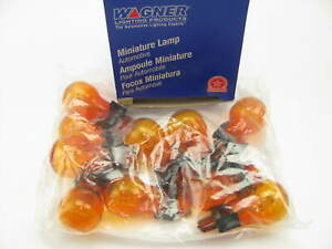 (10) Wagner 3057NA Amber Parking Lamp Bulb - Double Contact Wedge GT-8