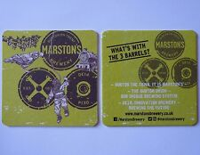 Marston's Brewery What's With The 3 Barrels? Beermat Coaster 2