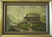 Romantics um 1870° Oil Painting Monogram° Frame ° Alps Hut at Mountain Lake
