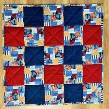Baby Quilt Handmade Red Blue Nautical Plaid Patchwork Boys Crib Blanket New