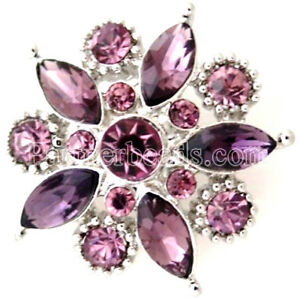Purple Flower 20mm Snap Charm Chunk Interchangeable Jewelry For Ginger Snaps