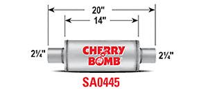 """CHERRY BOMB SA0445 SALUTE MUFFLER 2.25"""" ROUND 4"""" STAINLESS WELDED"""