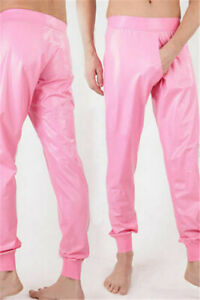 100%Latex Pants Rubber Party Club Pink Casual Trousers Swimwear Pants 0.4mmS-XXL
