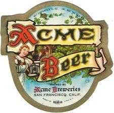 1940s IRTP CALIFORNIA San Francisco ACME BEER 8oz Label Tavern Trove