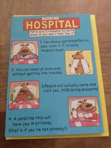 get well soon card (hospitalised) funny New Unused