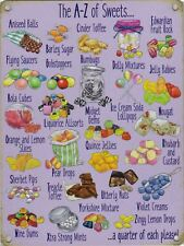 New 15x20cm A-Z of Sweets small metal advertising wall sign