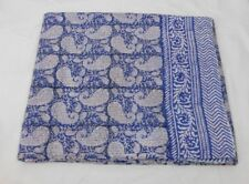 Kantha Quilt, Hand Block Print Fabric Paisley New Cotton Blue Color, Twin Size