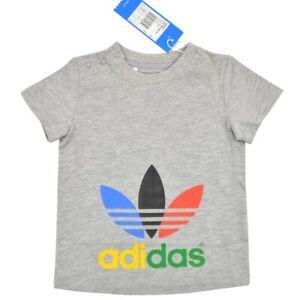 Adidas Originals Trefoil T-Shirt Kinder Jungen Mädchen Baby Big Logo grau 74-86