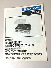 Sanyo JXT 65 Hi Fi Stereo Music System Operating Instructions