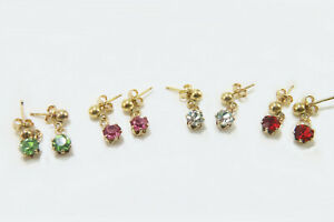 Birthstone Bright Swarovski crystal earrings Authentic 14K - 1/20 Gold Filled
