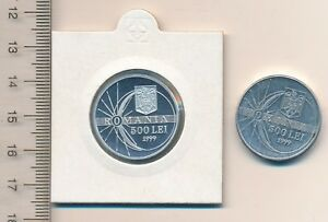 Romania Romanian SOLAR ECLIPSE 500 Lei 1999 coin 2 COINS Rumänien PROOF KM# 146