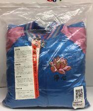 Hisenji Men's Chinese Jacket Designed Pure Silk Embroidery XXL Blue&pink (i)
