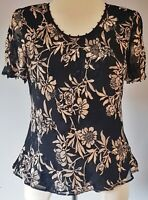 Jacques Vert Women's Top Black Gold Size 10 Silk Mix Floral Peplum VGC