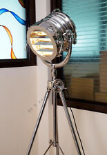 DESIGNER VINTAGE STYLE TRIPOD FLOOR LAMP ` LARGE MARINE  NAUTICAL SEARCH LIGHT