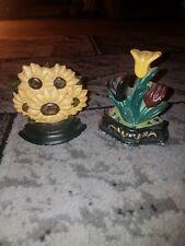 minature cast iron door stops/wedges sunflowers & tulips