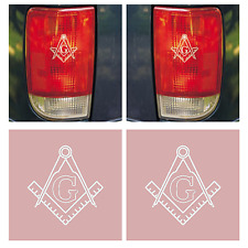 NEW SET OF 2: FREEMASON SQUARE AND COMPASSES MASONIC TAIL LIGHT CAR BRAKE EMBLEM