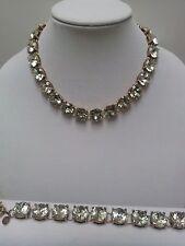 NWT J Crew Crystal Statement Necklace and Bracelet Set