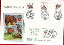 FDC ENVELOPPE 1er JOUR SUR SOIE  GRAND FORMAT 1991  SERIE NATURE DE FRANCE