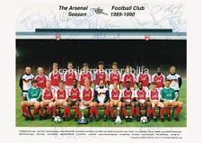 Arsenal FC 1989-1990 David ROCASTLE Tony Adams Paul MERSON signé (imprimée) x 18