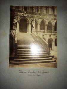 VENISE ESCALIER DES GÉANTS ET SALLE DU SÉNAT PALAIS DES DOGES .2 Photos,  1880
