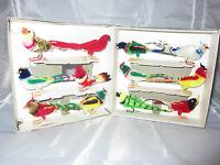 Vintage 12 Chenille Birds Boxed Christmas Tree Decorations Weddings Retro Xmas